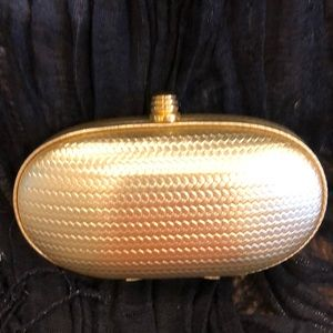 GOLD EVENING PURSE with LONG SHOULDER CHAIN